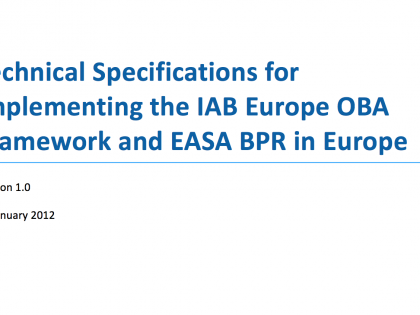 The Technical Specifications for implementing the IAB Europe OBA framework and EASA BPR in Europe